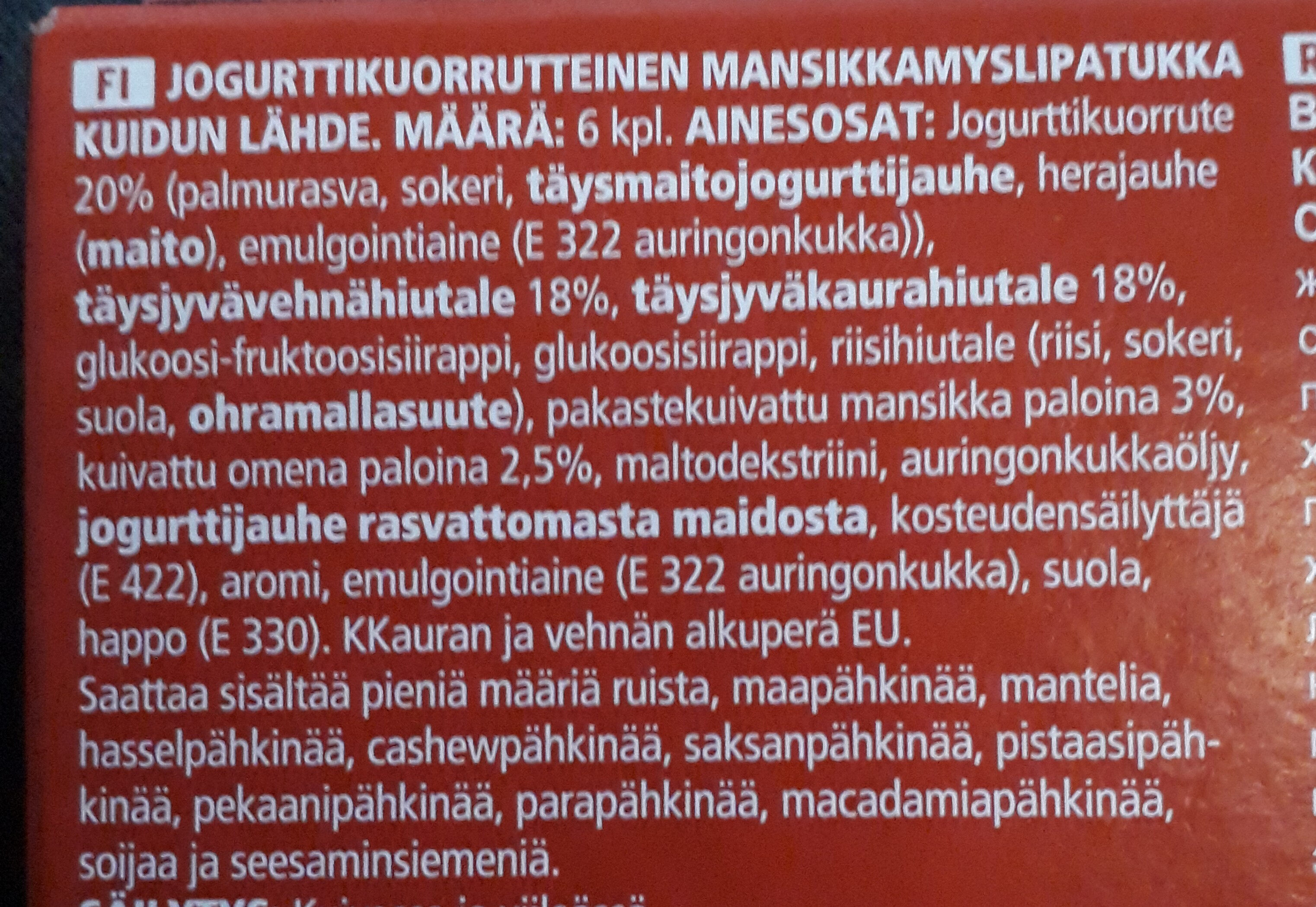Jogurtti-mansikkamyslipatukka - Ingredients - fi