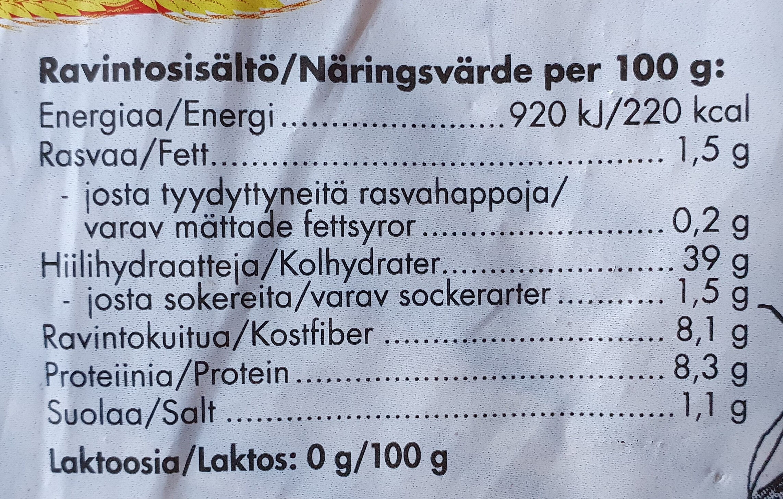 Ruiseväs - Nutrition facts - fi
