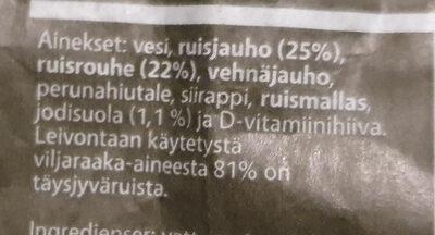 Täysjyvä Ruis-Iisakki - Ingrédients - fi