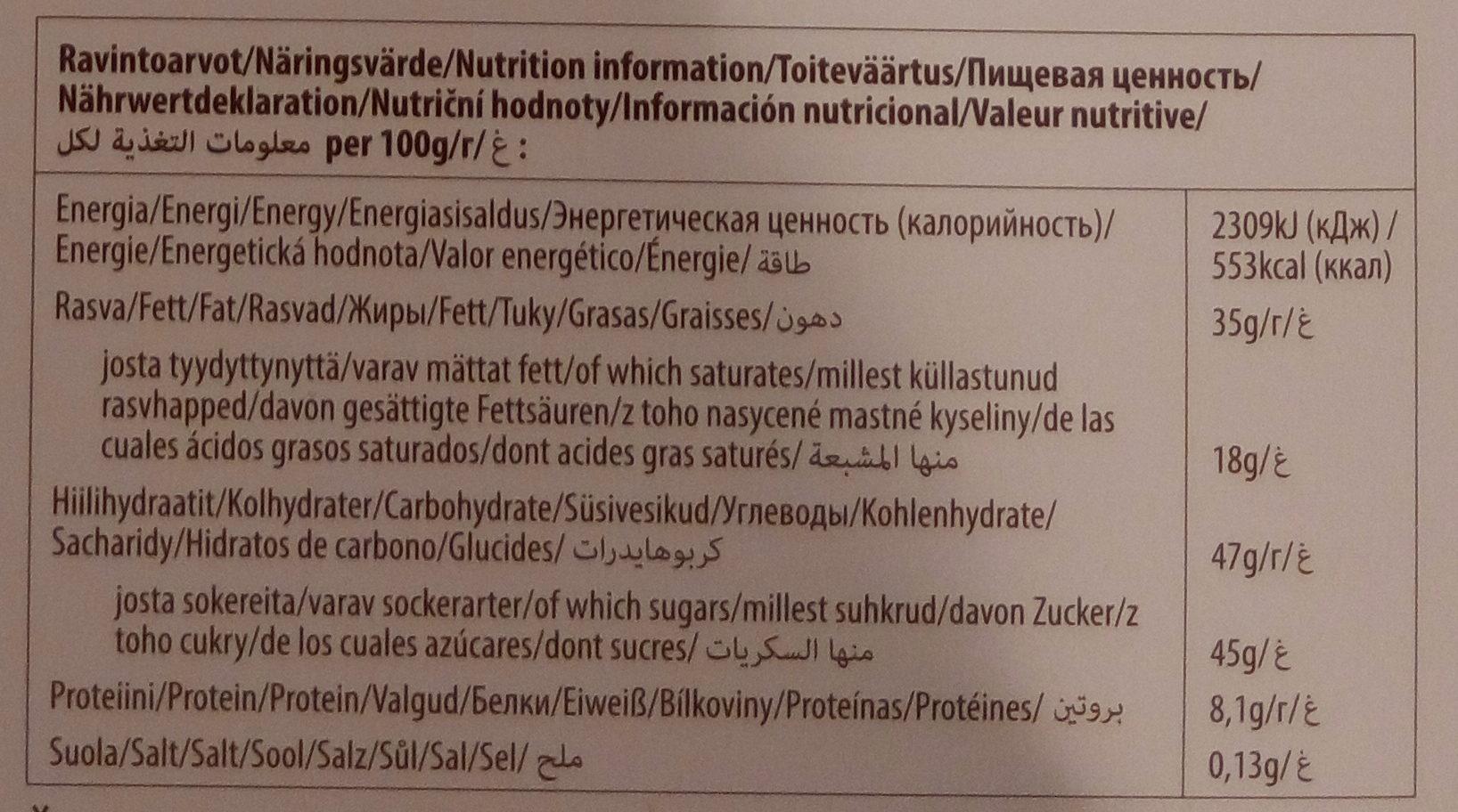 Fazer Geisha 295G - Nutrition facts