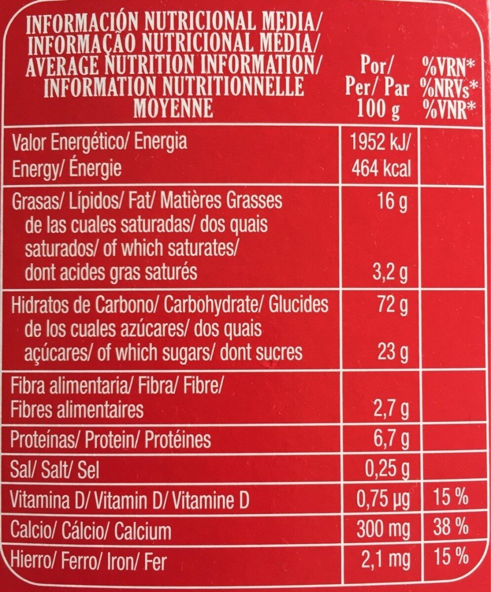 Galletas Chiquilin - Información nutricional - es