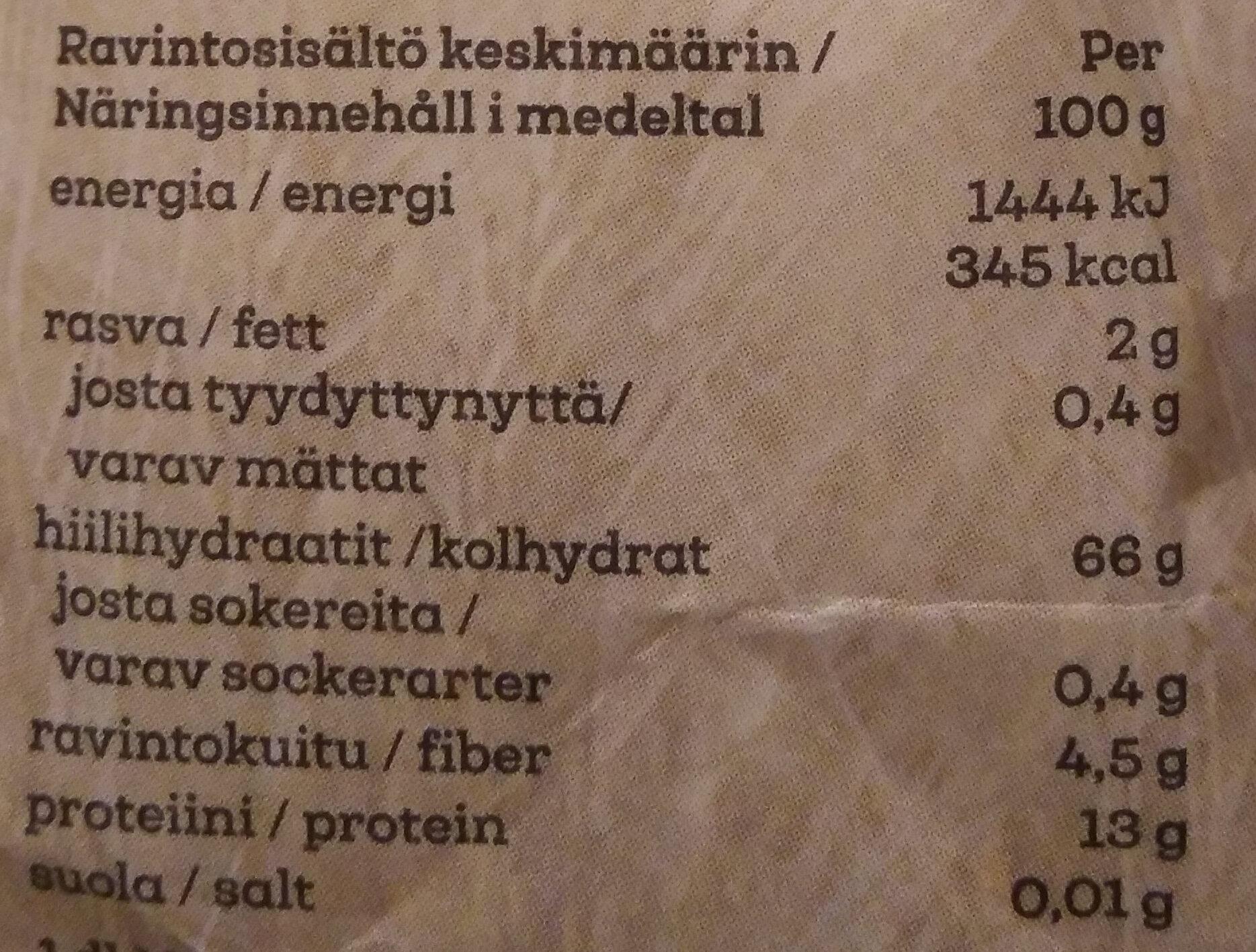 Emännän puolikarkea vehnäjauho - Ravintosisältö - fi