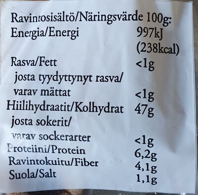 Ohrarieska - Informations nutritionnelles - fi