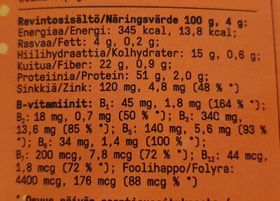 Ravintohiiva-hiutale - Informations nutritionnelles