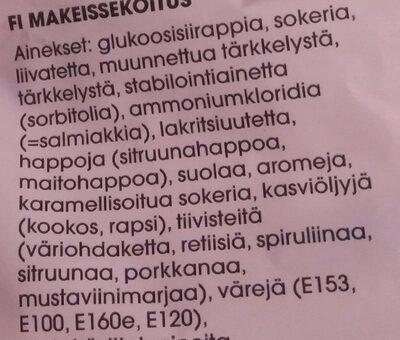 Hedelmä & Vaahto Aakkoset - Ingredients