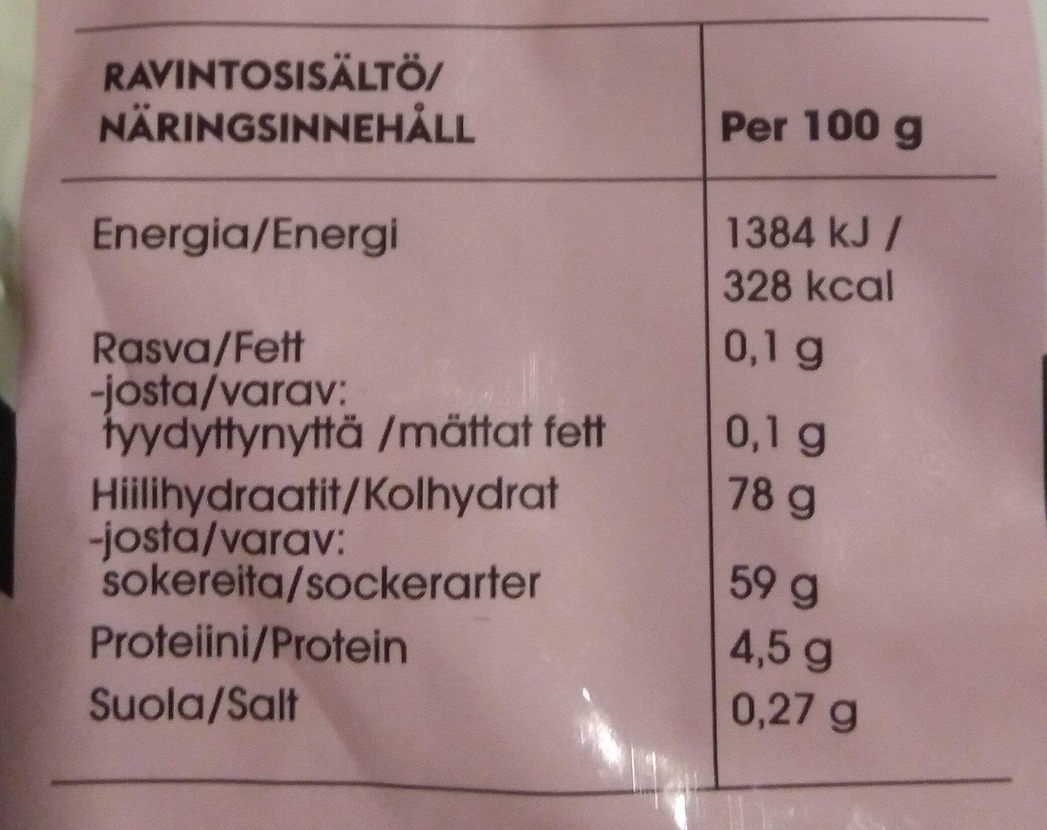 Hedelmä & Vaahto Aakkoset - Nutrition facts