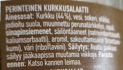 Perinteinen kurkkusalaatti - Ingrédients