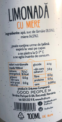 Limonada cu Miere - Ingredients