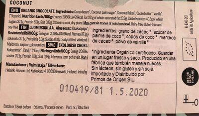 Coconut - Nutrition facts - es