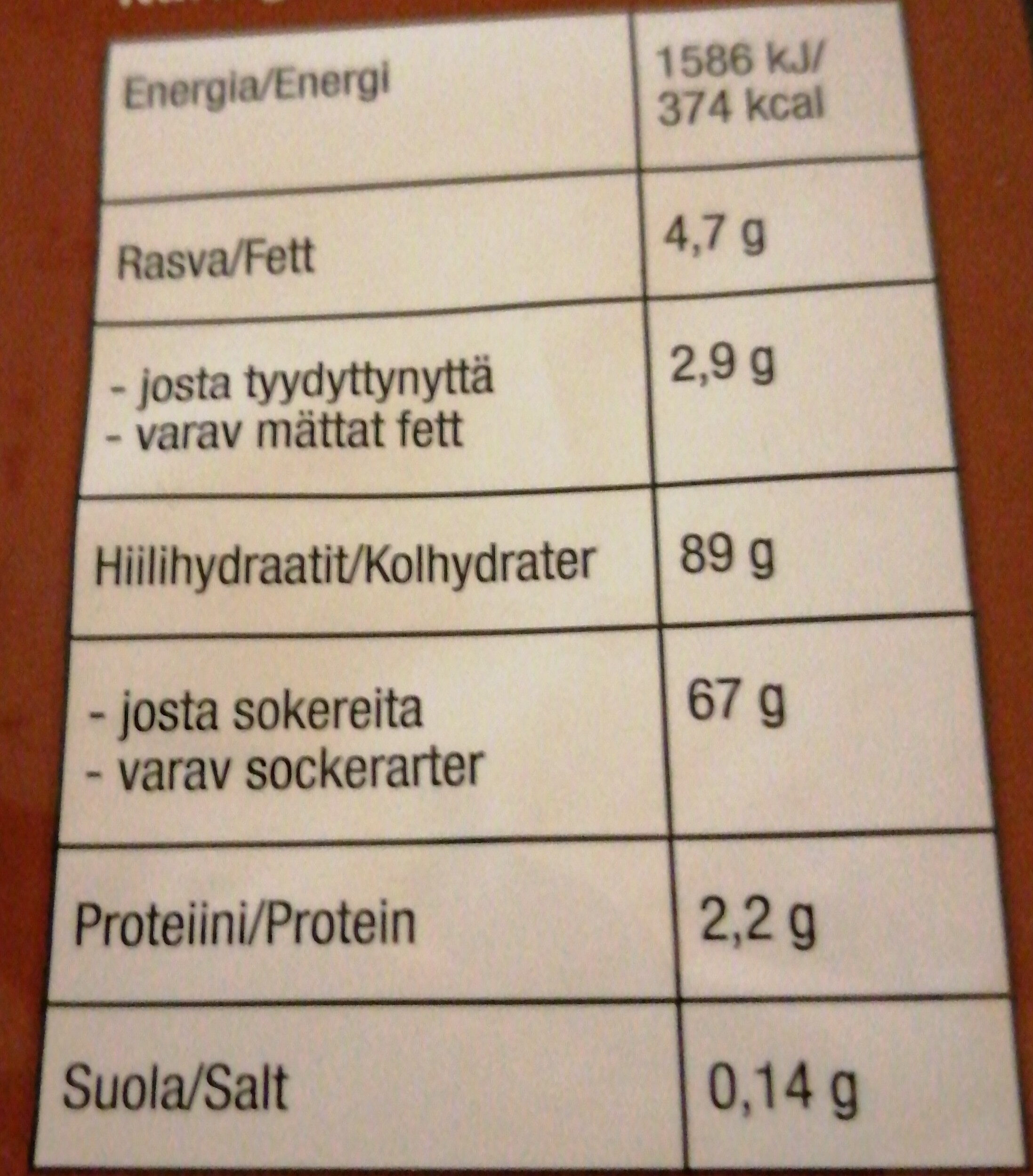 Leffa Mix - Nutrition facts - fi