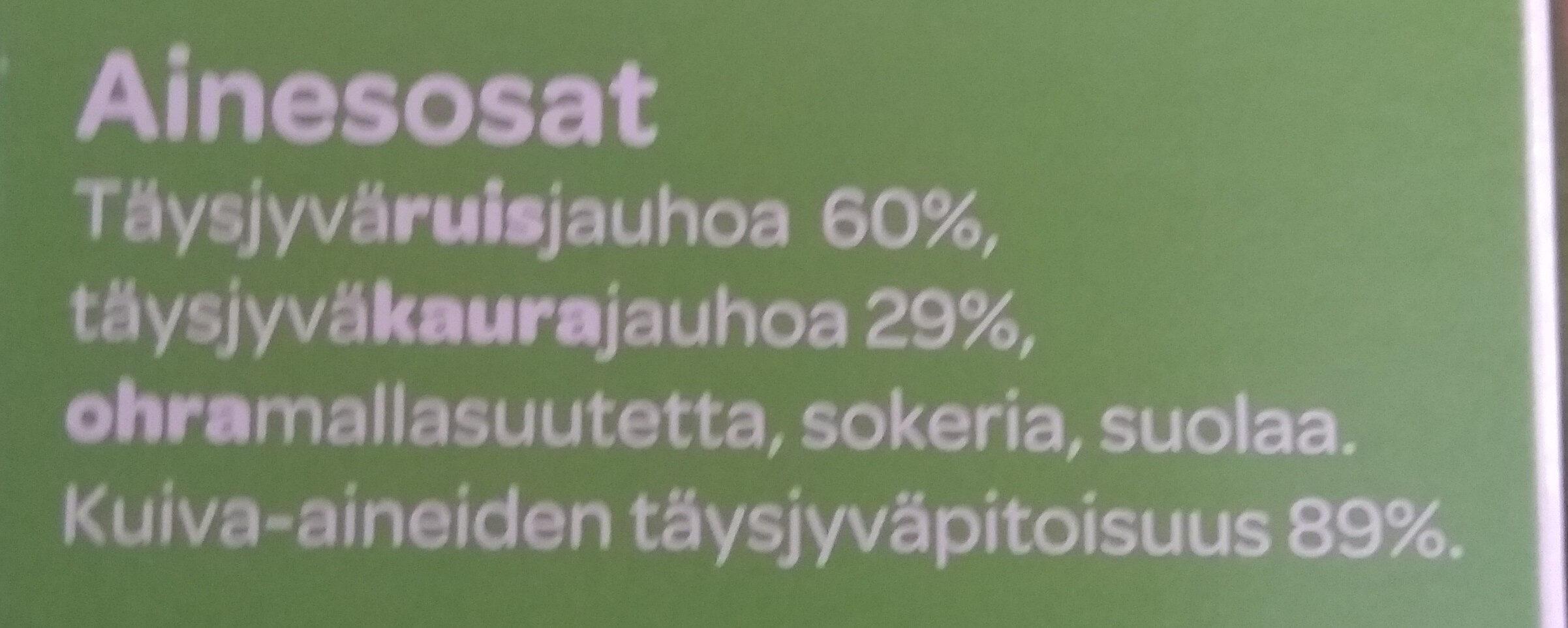 Täysjyvämuro Ruispuhku - Ingrédients - fi