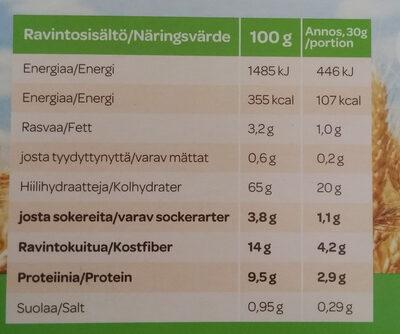 Täysjyvämuro Ruispuhku - Informations nutritionnelles - fi