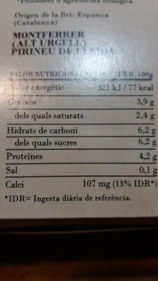Quefir natural - Información nutricional