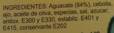 Guacamole sabor Mediterráneo - Ingredientes - es