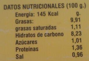 Guacamole sabor Mediterráneo - Información nutricional - es