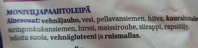 Taika Ohut Moniviljapaahtoleipä - Ingrédients - fi
