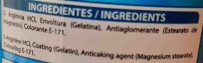 Arginine HCI - Ingredientes - en