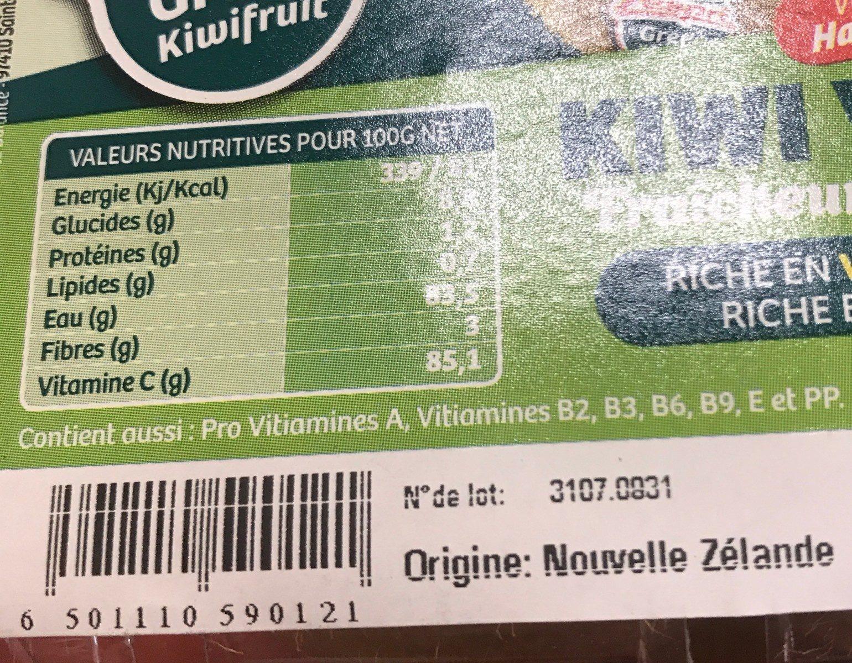 Kiwi vert - Ingredients