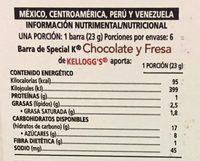 Special K Chocolate y Fresa - Nutrition facts - es