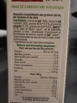 Crackers 3 graines - Informations nutritionnelles - fr