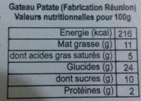 Gâteau patate douce - Nutrition facts - fr