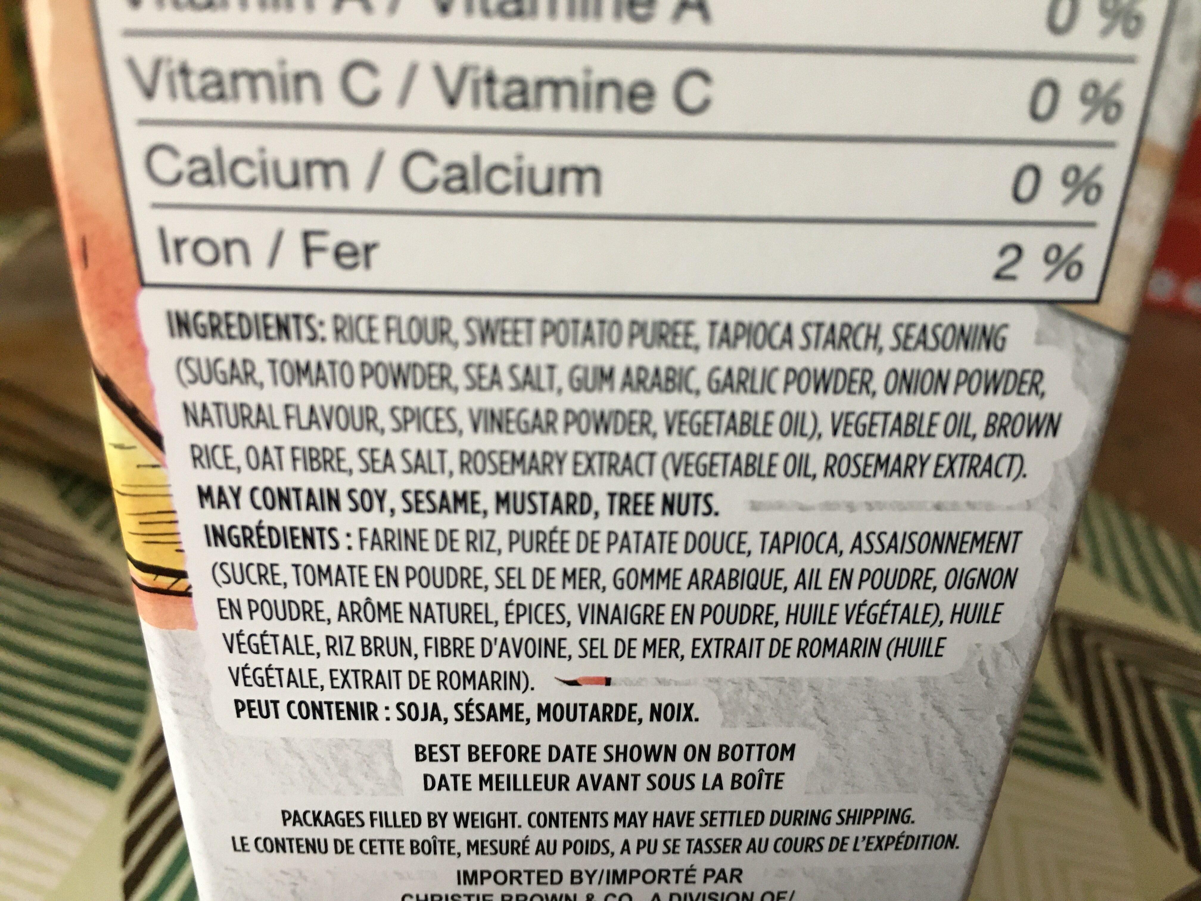 Craquelins au riz et à la patate douce - Ingredients - fr