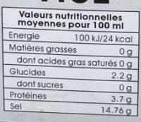 Sauce de Soja Claire - Nutrition facts - fr