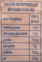 Nouilles De Ble Long Life - Valori nutrizionali - fr
