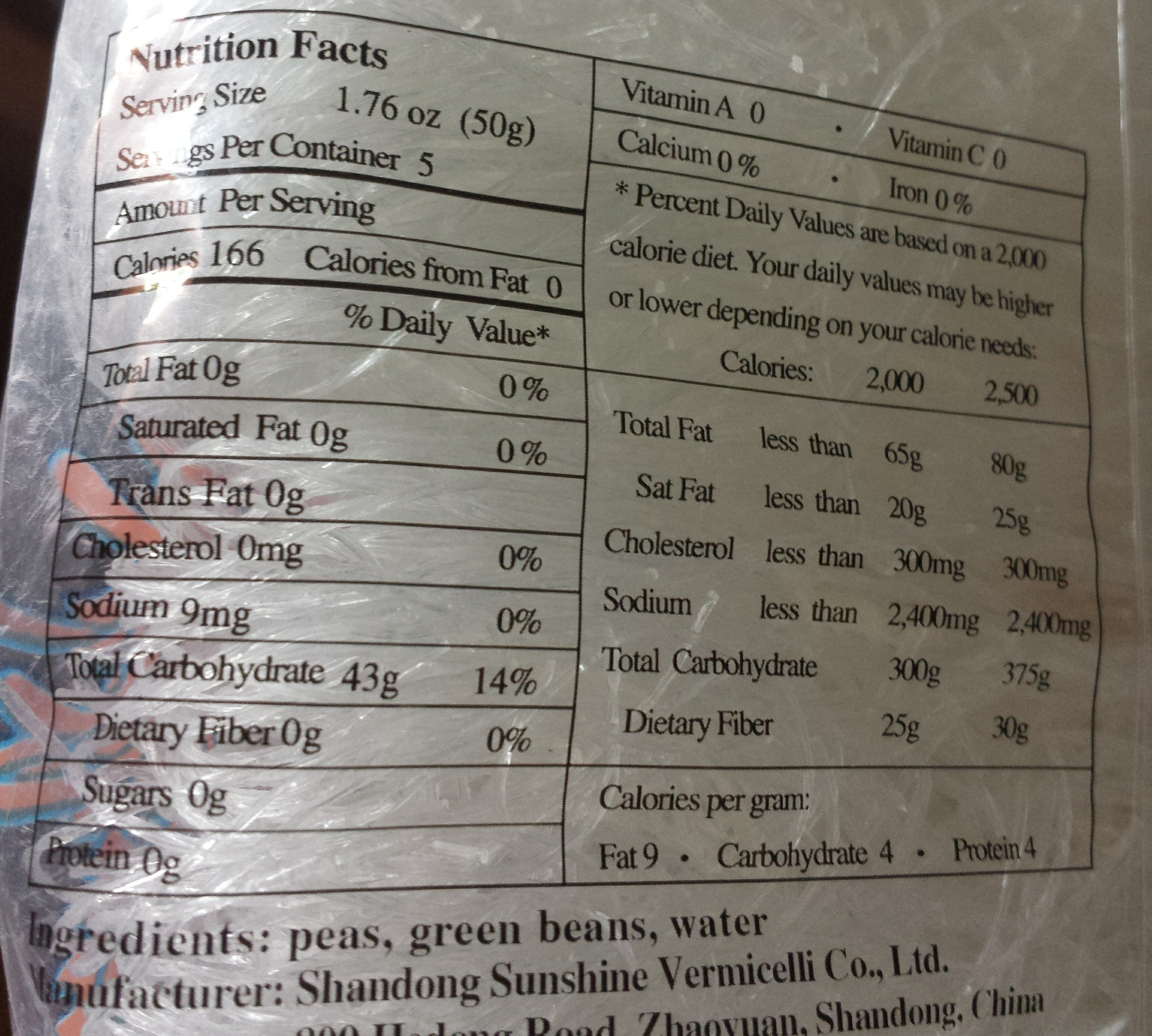 Chow Mein Nouilles Chinoises - Nutrition facts