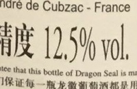 Merlot - Vin de Chine - Nutrition facts - fr