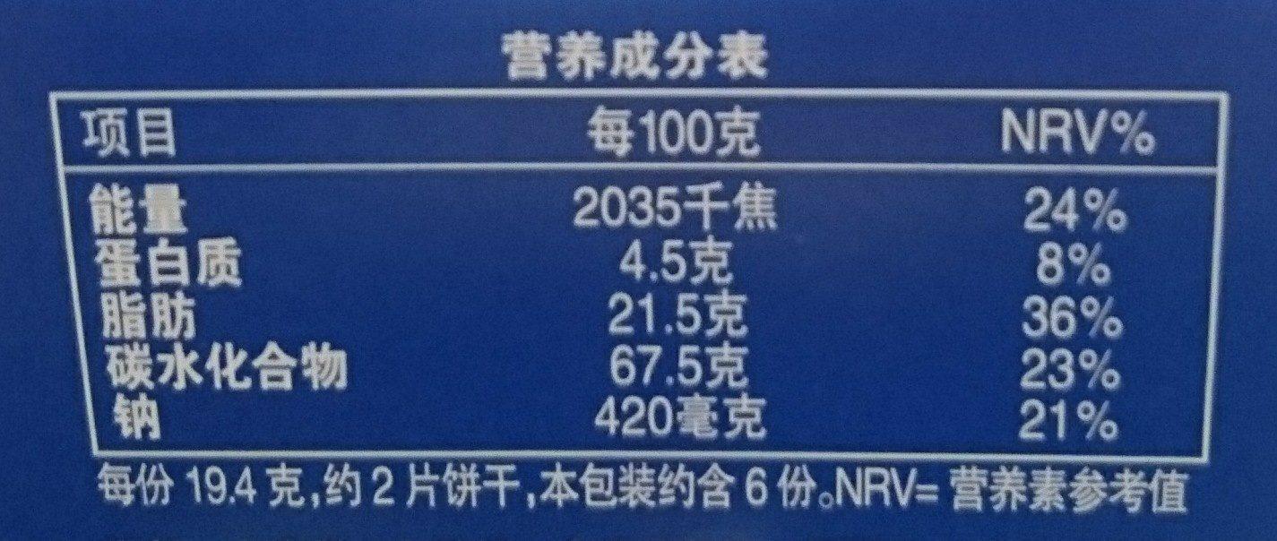 奥利奥巧克力味夹心饼干 - Nutrition facts - zh