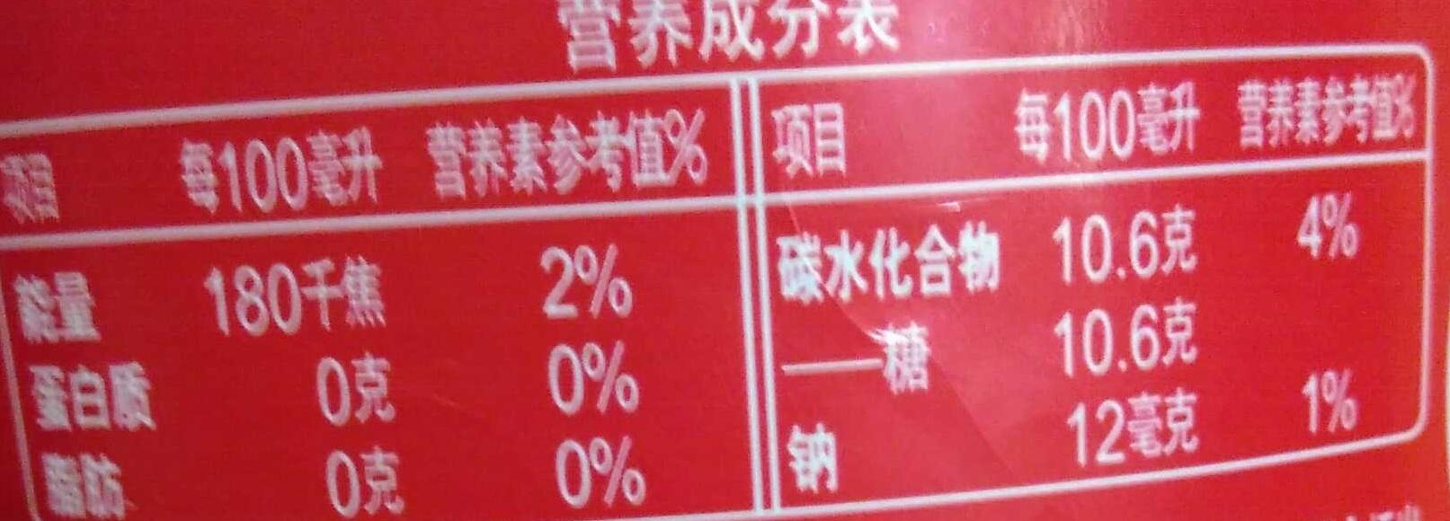 可口可乐汽水 - 营养成分 - zh