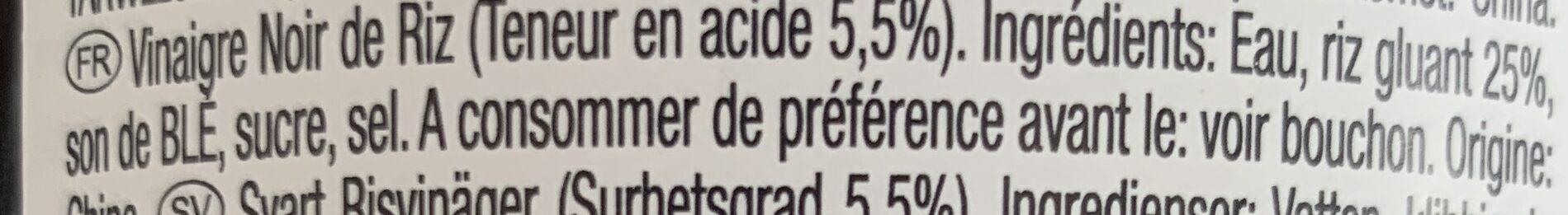 Vinaigre noir de riz - Ingredienti - fr