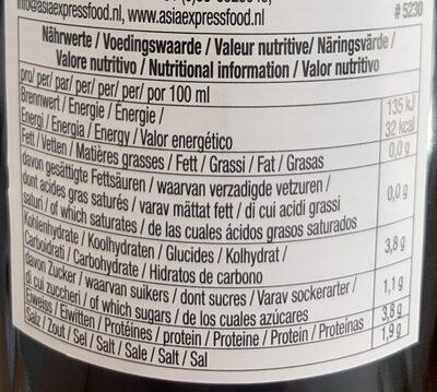 Vinaigre noir de riz - Valori nutrizionali - fr