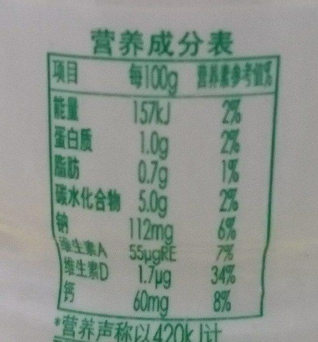 娃哈哈 AD 钙奶 - Nutrition facts