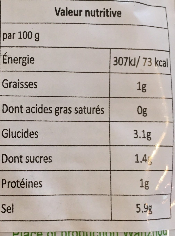 Yuquan Légume Salé - Voedingswaarden - fr