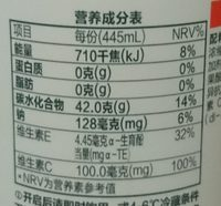 水溶 C100 - Nutrition facts