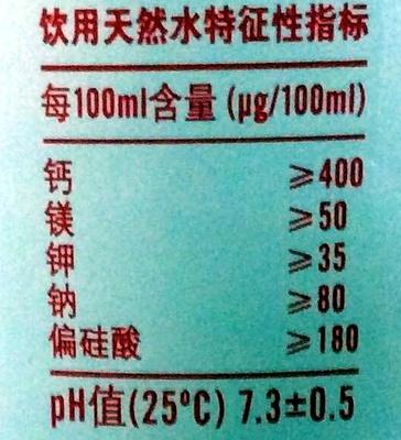 Nongfu spring - 营养成分 - zh