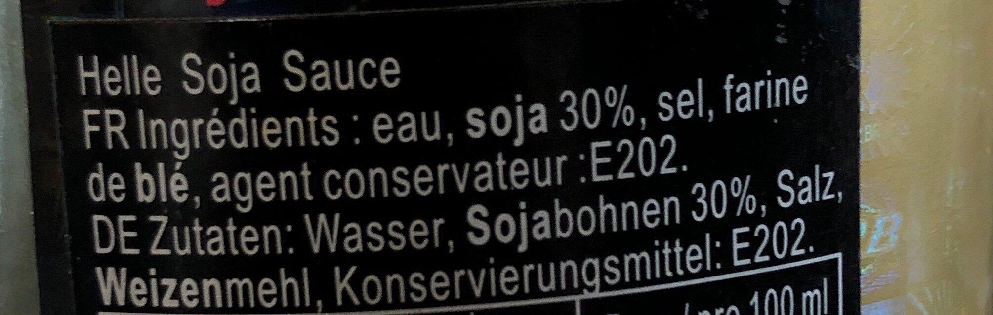 Sauce soja claire - Ingredients