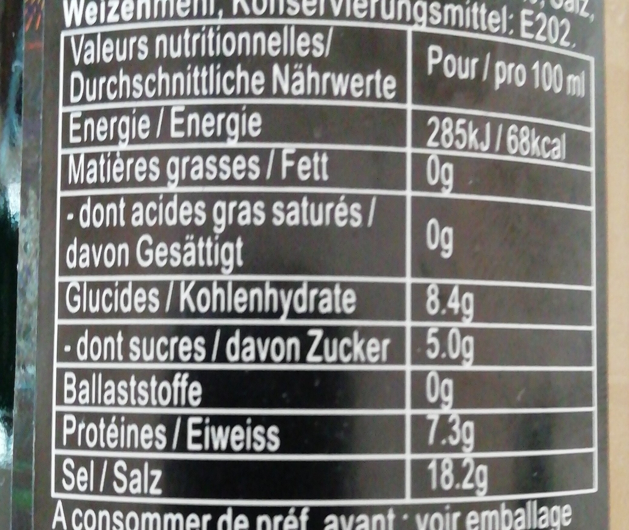 Sauce soja claire - Nutrition facts