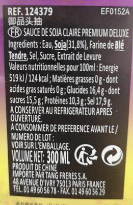 Premium Deluxe Soja Sauce - Nutrition facts - fr
