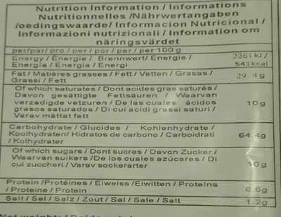 Scallion oiled biscuit - Informations nutritionnelles - fr