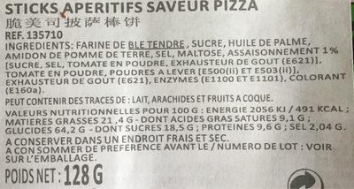 Sticks apéritifs saveur pizza - Nutrition facts - fr
