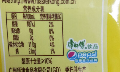 Master Kang sweet stewed snow pear - Nutrition facts - zh