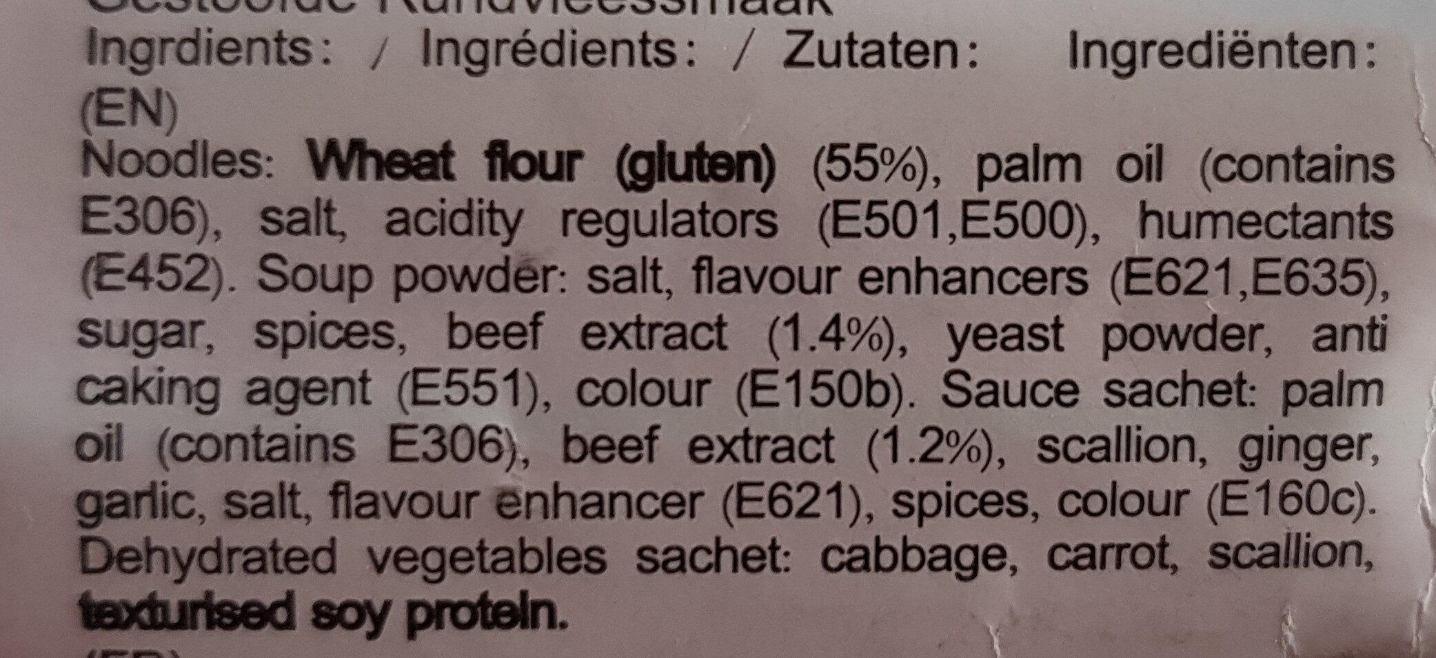 Nouille Saveur Boeuf - Ingredients - en
