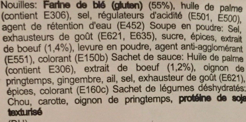 Nouille Saveur Boeuf - Ingrediënten