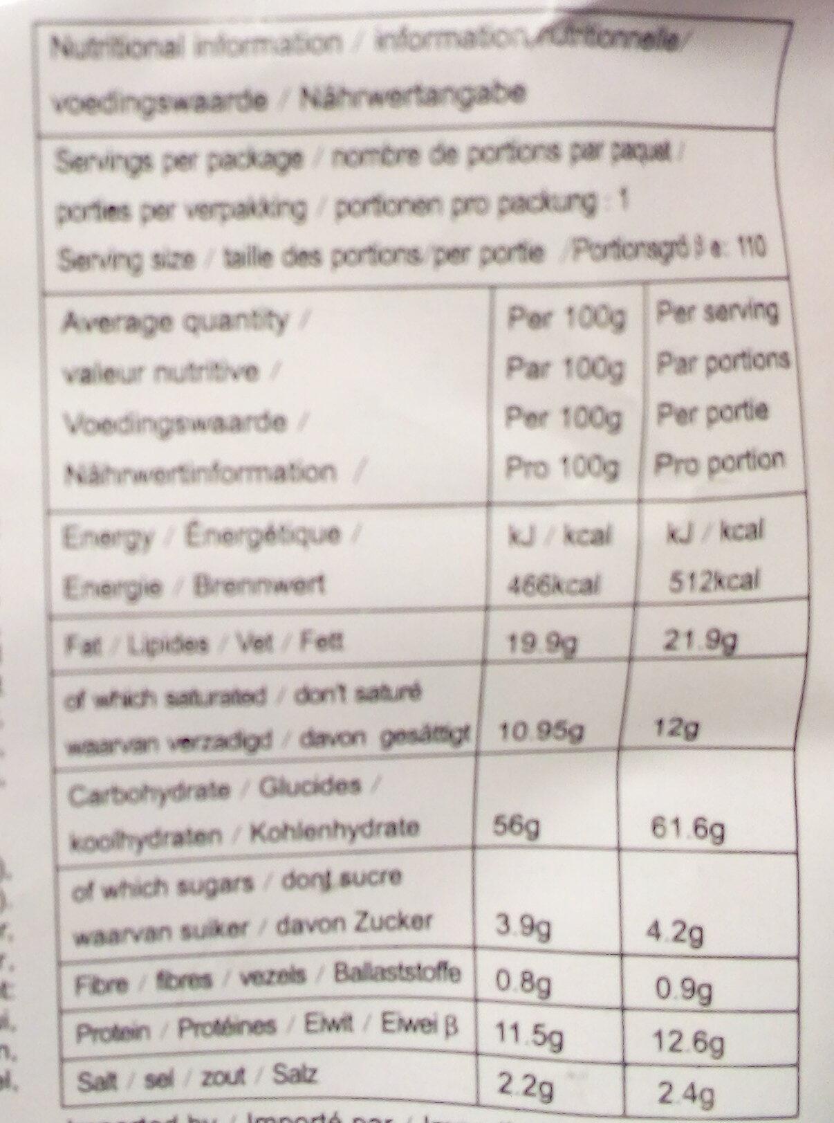 Nouille Saveur Boeuf - Nutrition facts - fr