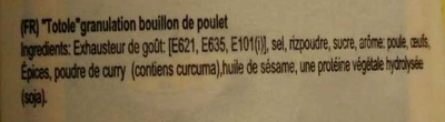 Granulated Chicken Flavour Bouillon - Ingrédients - fr