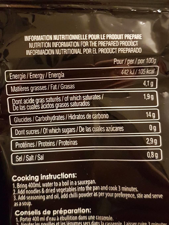 Nouilles instantanée soupe XL barbecue - Nutrition facts - fr