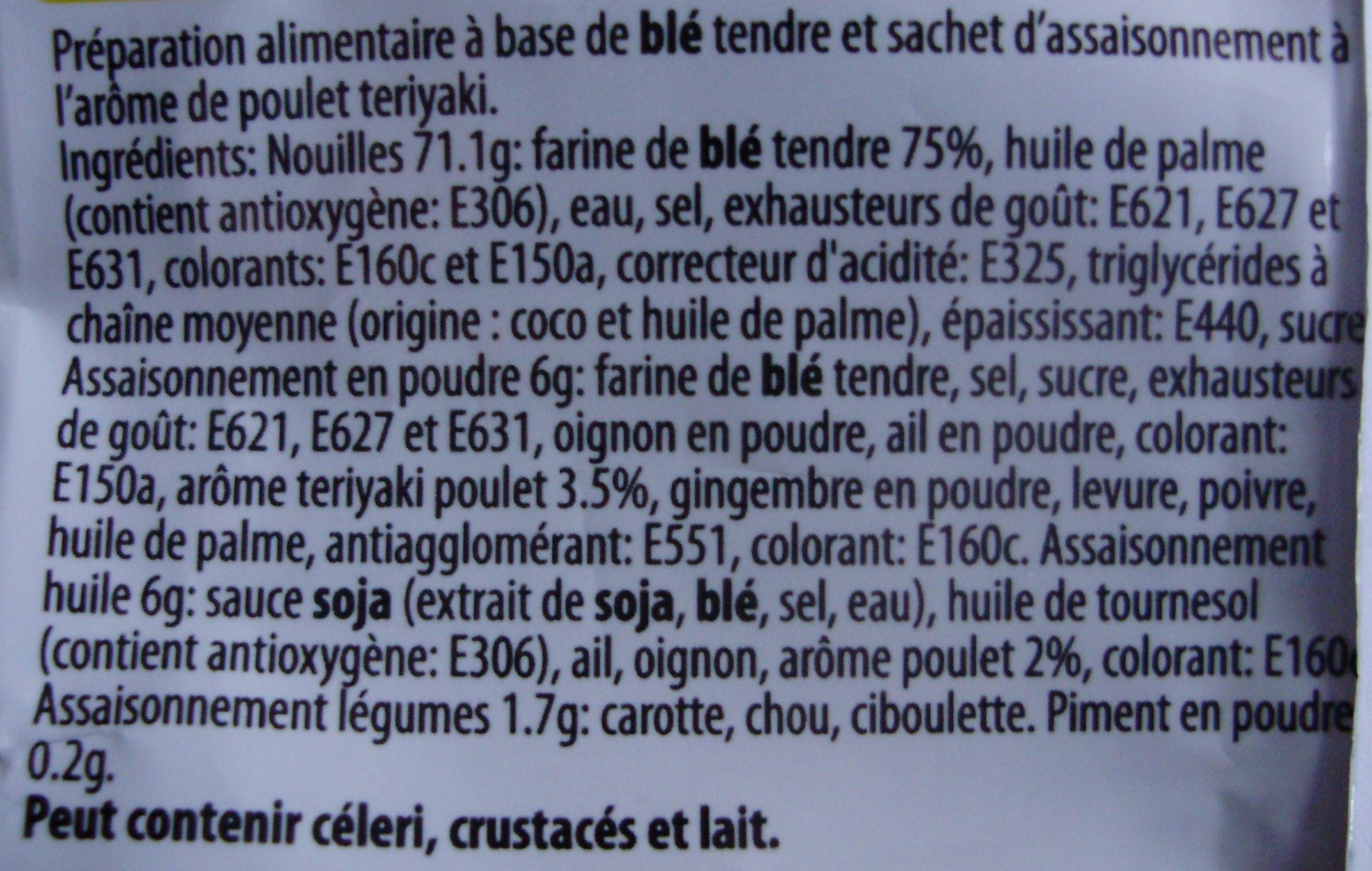 Nouilles instantanées, Arôme poulet teriyaki (Voir 3760092457423 pour lot de 3) - Ingrédients